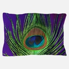 Purple Foil Peacock Pillow Case
