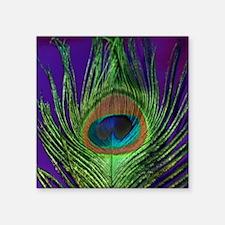 """Purple Foil Peacock Square Sticker 3"""" x 3"""""""