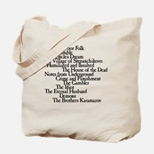 Dostoyevksy Book Titles Tote Bag