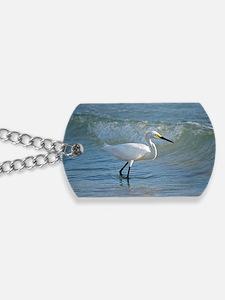 Snowy egret Dog Tags