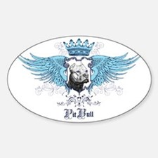 Pit Bull Dog Crest, Crown  Wings Sticker (Oval)