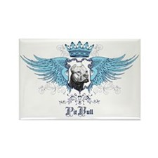 Pit Bull Dog Crest, Crown  Wings Rectangle Magnet