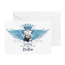 Pit Bull Dog Crest, Crown  Wings Greeting Card