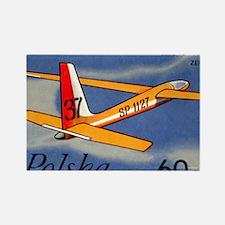 Vintage 1968 Poland Glider Airpla Rectangle Magnet
