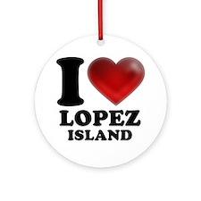 I Heart Lopez Island Round Ornament