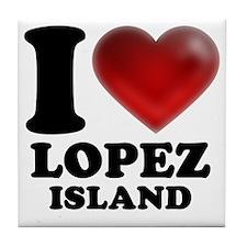 I Heart Lopez Island Tile Coaster