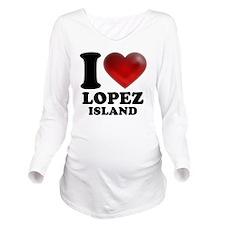 I Heart Lopez Island Long Sleeve Maternity T-Shirt