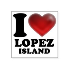 "I Heart Lopez Island Square Sticker 3"" x 3"""