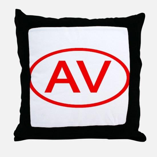 AV Oval (Red) Throw Pillow