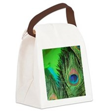 Green Foil Peacock Canvas Lunch Bag
