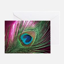 Magenta Peacock Greeting Card