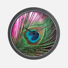 Magenta Peacock Wall Clock