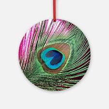 Magenta Peacock Round Ornament