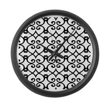 Black and White Ornamental Patter Large Wall Clock