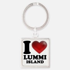 I Heart Lummi Island Square Keychain