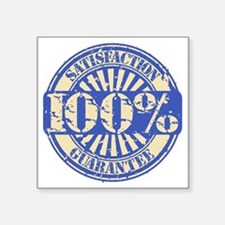 "Satisfaction Guarantee blue Square Sticker 3"" x 3"""