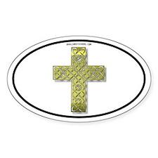 Golden Celtic Cross Oval Decal