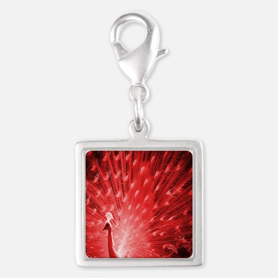 Red Peacock Silver Square Charm