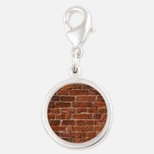 Brick Wall Silver Round Charm
