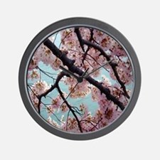 Pink Cherry Blossoms Wall Clock