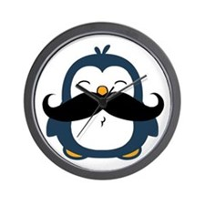 Mustache Penguin Trend Wall Clock
