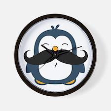 Mustache Penguin Trend Wall Clock