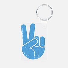 univ-peace-hand2-blu-LTT Keychains