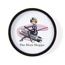 Horn Shop Text Large Logo Wall Clock