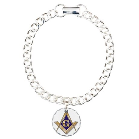Square and Compass Charm Bracelet, One Charm