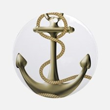 Gold Anchor Ornament (Round)