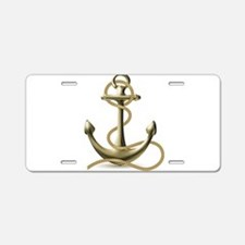 Gold Anchor Aluminum License Plate