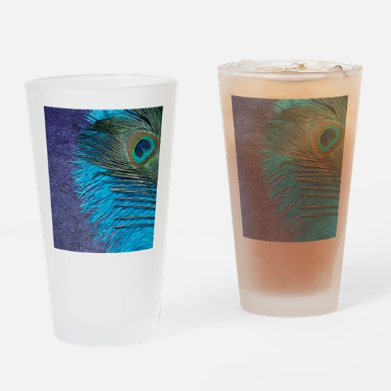 Purple and Teal Peacock Drinking Glass