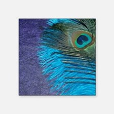 """Purple and Teal Peacock Square Sticker 3"""" x 3"""""""