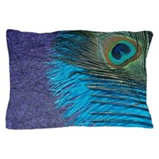Purple and Teal Peacock Pillow Case