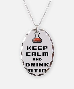Funny retro rpg keep calm and  Necklace