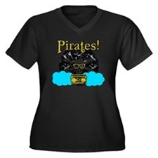 Pirates! Women's Plus Size Dark V-Neck T-Shirt