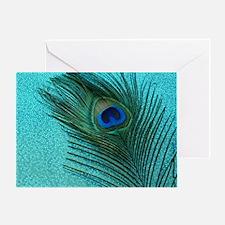 Metallic Aqua Peacock Greeting Card