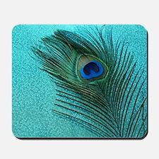 Metallic Aqua Peacock Mousepad