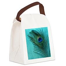 Metallic Aqua Peacock Canvas Lunch Bag