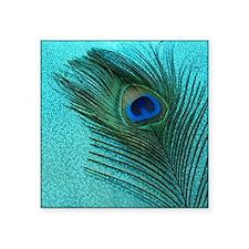 "Metallic Aqua Peacock Square Sticker 3"" x 3"""
