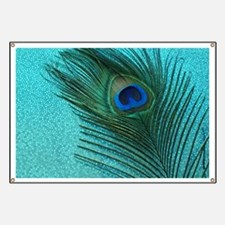 Metallic Aqua Peacock Banner