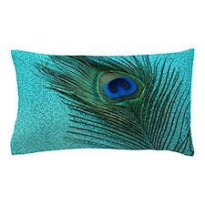 Metallic Aqua Peacock Pillow Case