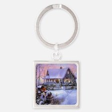 Country Christmas Square Keychain