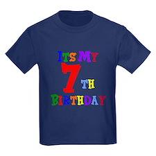 7th Birthday Kids Dark T-Shirt