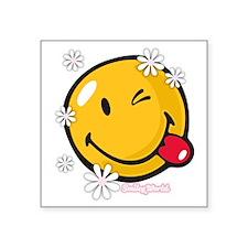"flower me Square Sticker 3"" x 3"""