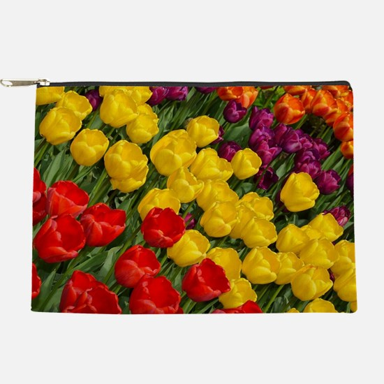 Colorful spring tulips in rows Makeup Pouch