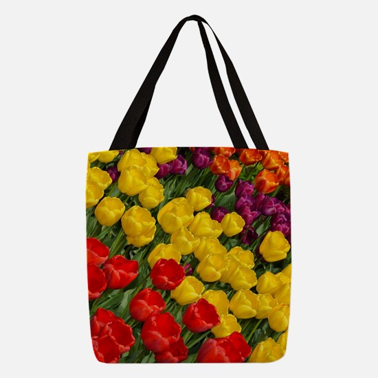 Colorful spring tulips in rows Polyester Tote Bag