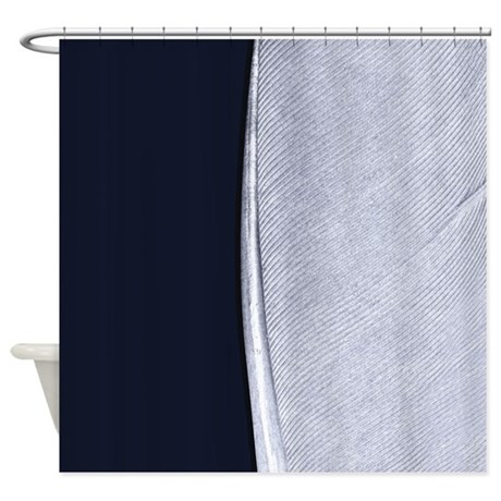 Navy And Silver Feather Shower Curtain By JustForHimPTK