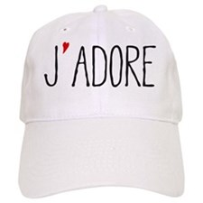 Je adore, french word art with red heart Baseball Baseball Cap