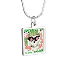 Retro 80s Skate or Die Sku Silver Square Necklace